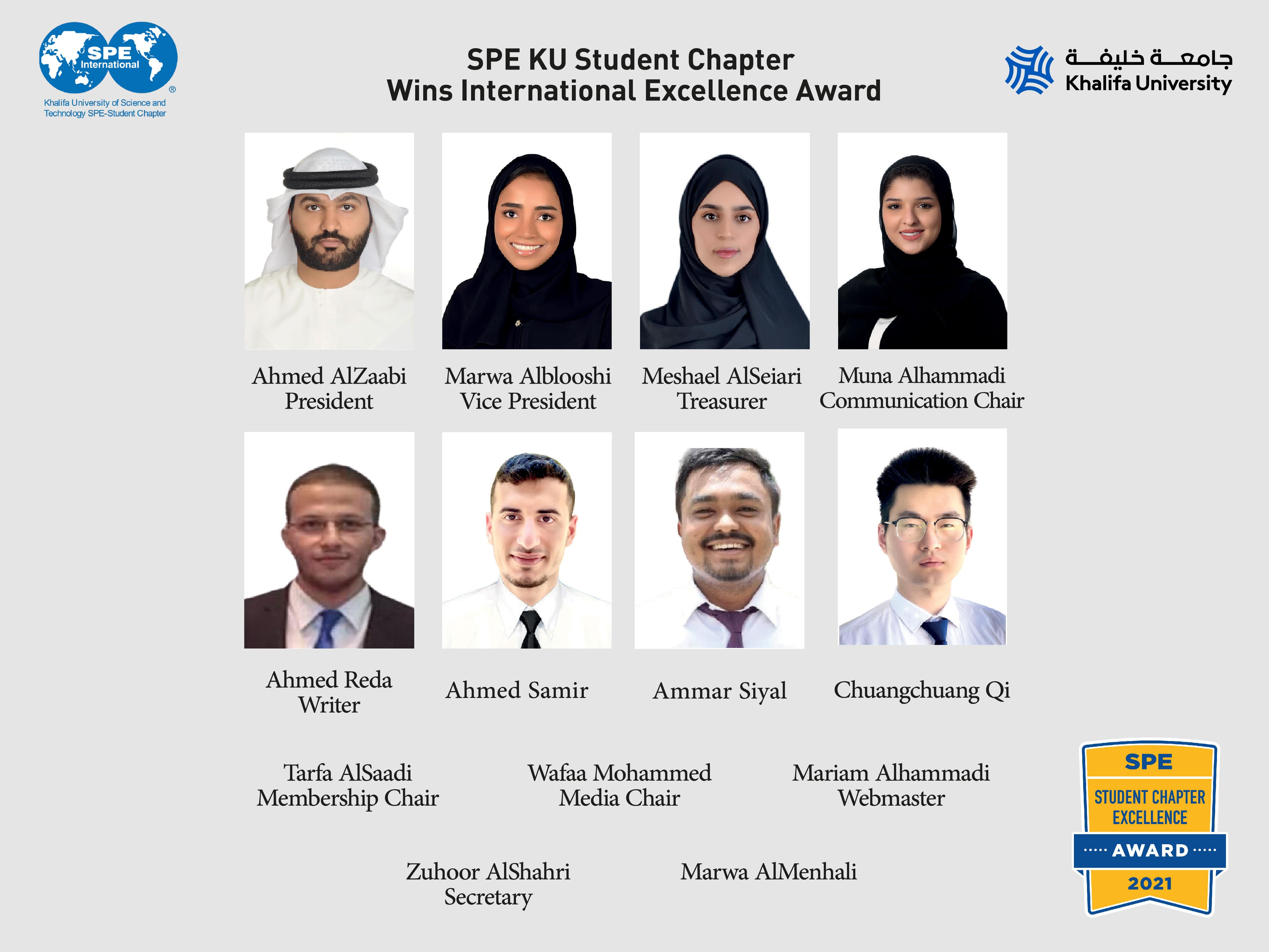 Khalifa University's Society of Petroleum Engineers Student Chapter Receives Excellence Award